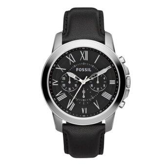 Harga Fossil Men Grant Chronograph Black Leather Watch FS4812
