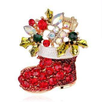 Harga FANCICO Red Socks Christmas Colorful Flower Crown Element Rhinestone Brooch Pin