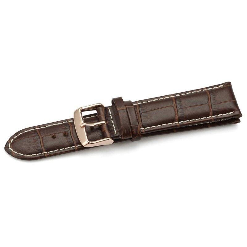 iStrap 22mm Genuine Leather Watch Band Alligator Grain Rose Gold Tang Buckle Padded - Brown Malaysia