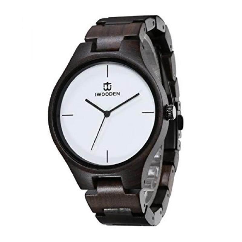IWOODEN Ebony Wood Watch Analog Quartz Wrist Watch For Men Vintage Handmade Watch Malaysia
