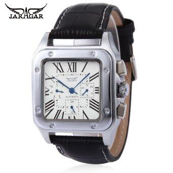 JARAGAR Men Auto Mechanical Watch Calendar Luminous Display Transparent Back Cover Wristwatch (White)