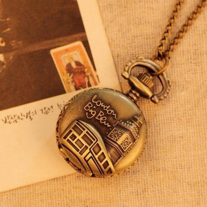 jiage Necklace Pocket Watch For Men Women Best Gift Quartz AlloyPendant Bronze With Long Chain London Building Pattern (bronze) Malaysia