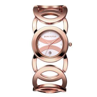 JIANGYUYAN Ladies Luxury Full Rose Gold Alloy Quartz BraceletWatches With Date 380803(White)