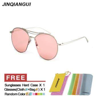 JINQIANGUI Sunglasses Women Oval Sun Glasses Pink Color BrandDesign - 2