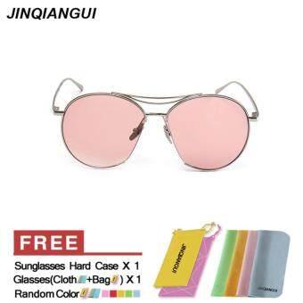 JINQIANGUI Sunglasses Women Oval Sun Glasses Pink Color BrandDesign - 3