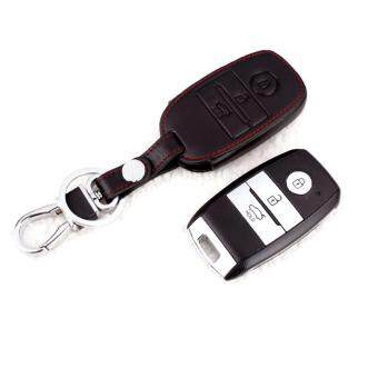 KIA Cerato K3 Optoma K5 Keyless Remote Leather Car Key Cover Case(Black)