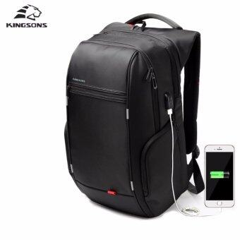 Kingsons 17.3 inches City Elite Bag Designer Laptop Backpack Water-Resistant Anti-Theft Laptop Rucksack with USB Charging Port Black