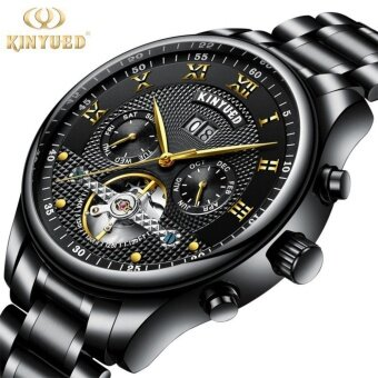 Harga KINYUED Top Brand Mechanical Watch Luxury Men Business Watchs Stainless Steel Band 3ATM Waterproof Calendar Function Mens Famous Male Watches Clock For Men Wrist Watch Black
