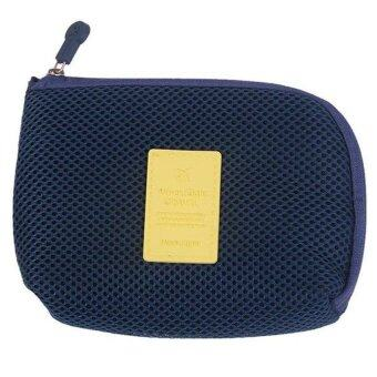 Korea Stylish Travel Pouch for Mobile Acc Laptop Charger Cable HardDisk Power Bank Cosmetic Mouse (Dutch Navy)