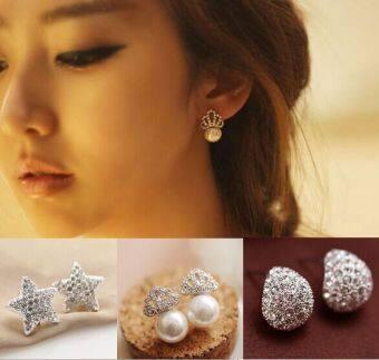 Korean-style diamond temperament CROWN artificial Pearl femalemodels fashion Stylish earrings Cool star earrings - 2