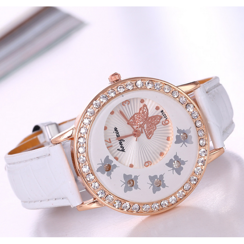 Korean Style Fancy High Class Women Ladies Crystal Butterfly Gold Stainless Steel Mesh Band Wrist Watch - White Malaysia