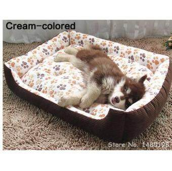 Harga Large Breed Dog Bed Sofa Mat House Cot Pet Bed House for large dogsBig Blanket Cushion Basket Supplies 45x30(cream)