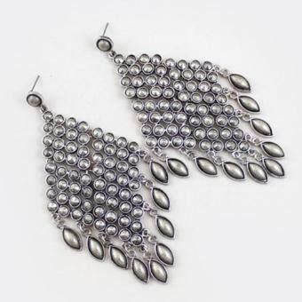 [Little B House] Silver Color Tassel Alloy Earrings 10.6cm - ER239 - 2