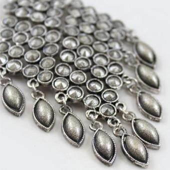 [Little B House] Silver Color Tassel Alloy Earrings 10.6cm - ER239 - 3