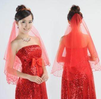 Harga Little red pearl flower Crescent bridal veil