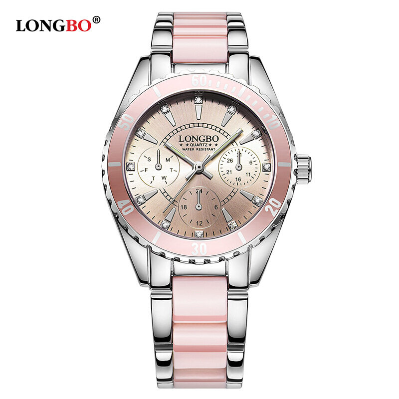 Long wave of selling watches female models in three eyes of ceramic steel watch waterproof luminous quartz ladies watch a generation Malaysia