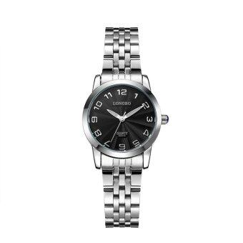 LONGBO 80015 Women Simple Style Stainless Steel Watchband RoundDial Waterproof Watch Wristwatch with Date Display