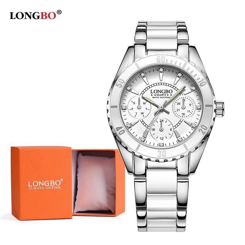 LONGBO Ceramics Watchband Anolog Women Watch Wristwatch 80303L + Watch Gift Box Malaysia