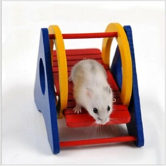 Harga Lovely Natural Wooden Hamster Cage Hamster Toy Gerbil Cages&Accessories Chew Toys For Hamster Ladder Seesaw Pet Toy