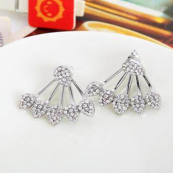 Harga Luxury Rhinestone Water Drop Simple Earrings For Women Gold SilverStud Earrings Women Fashion Double Sided Earrings Jewelry