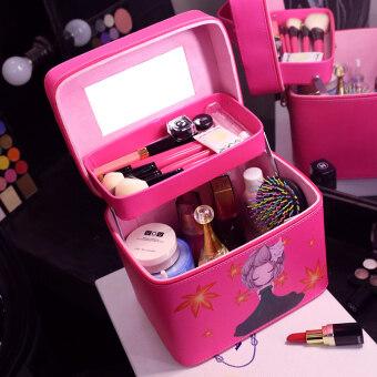 Makeup box Korean professional multi-layer cosmetics storage baghard waterproof wash bag female cute makeup bag Large Capacity