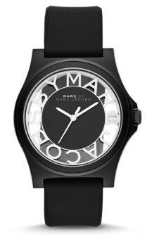 Harga MARC BY MARC JACOBS MBM4019 Henry Skeleton Black Silicone Strap Ladies Watch (Black)