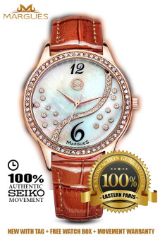 Harga Margues M3016 Seiko Movement Luxury Rhinestone Genuine LeatherWomen Watch (Coffee)