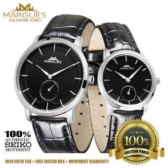 Harga Margues M3021 Seiko Movement Valentine Series Genuine Leather Couple Watch