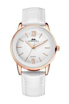 Harga Margues M3027 Seiko Movement Casual Genuine Leather Women Watch (White)
