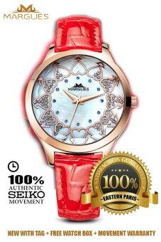 Harga Margues M3049 Seiko Movement Luxury Rhinestone Genuine LeatherWomen Watch (Red)