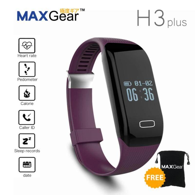 MAXGear H3 Plus Heart Rate Pedometer Fitness Wristband Smart Watch Purple Malaysia