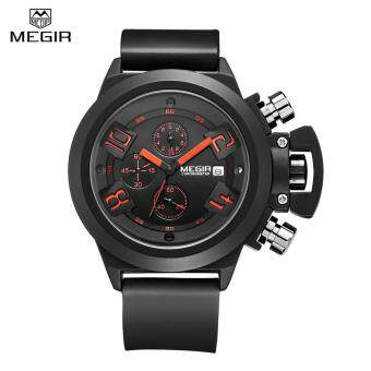 MEGIR 2002 Male Quartz Watch Date Display 30M Water ResistanceSilicone Band