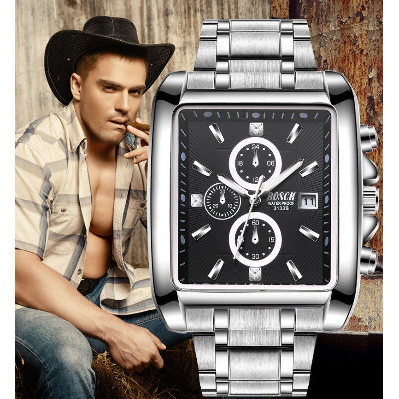 Men s Square Strip Sports Calendar Watches Luminous Square Waterproof Silicone Belt Quartz Watch-steel Malaysia