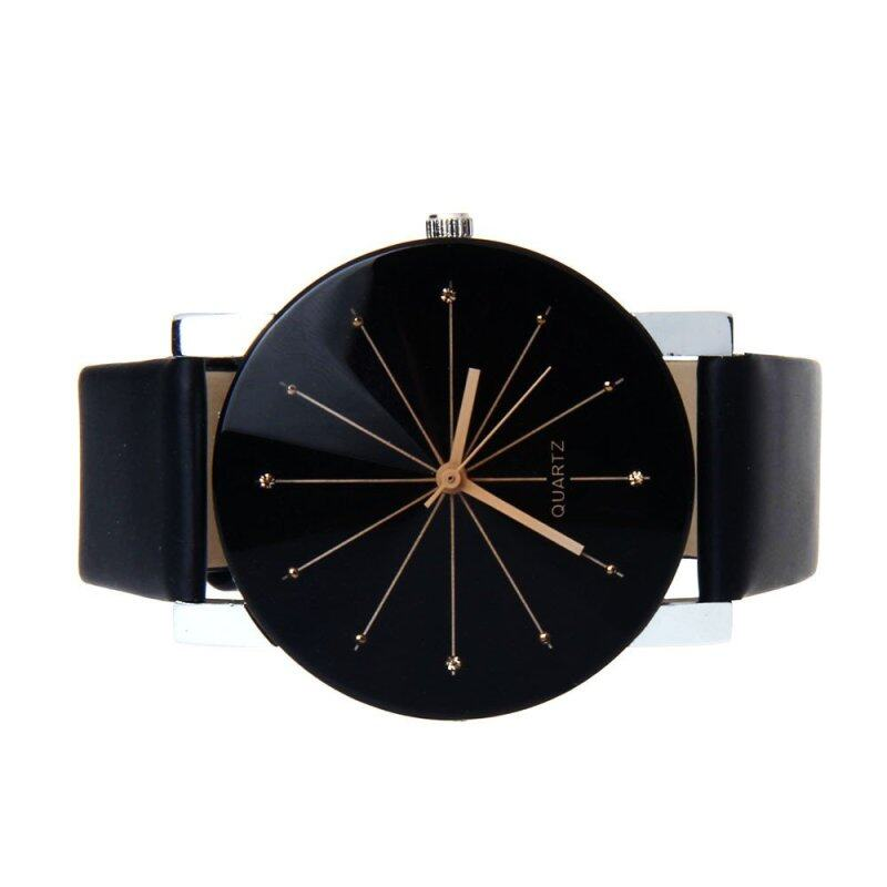 Men Quartz Dial Clock Leather Wrist Watch Black Malaysia
