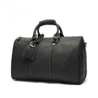 Men's Genuine Leather Overnight Travel Duffel Weekender Bag Leather Luggage Black - 2