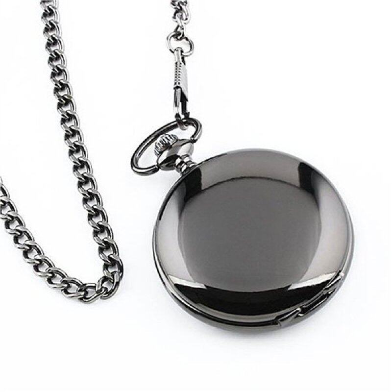 Mens Blank Stainless Steel Case White Dial Arabic Numeral Pocket Watch with Chain /Gift Box Malaysia