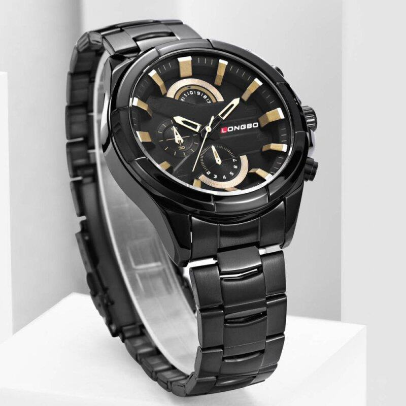 Mens Fashion DesignSprort  Quartz Analog Waterproof Wrist Business Watch with Stainless Steel Case,30M 3ATM Water Resistant, Stainless Steel Band - 80242 Black Malaysia