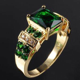 Harga Men's Ring Emerald Zircon Crystal Jewelry Ring US Size