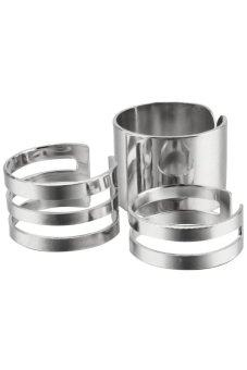 Metal Alloy Knuckles Womens Adjustable Ring Set of 3(Silver) - 2