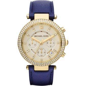 Harga Michael Kors Women's Gold Parker Chrono Blue Leather Watch MK2280