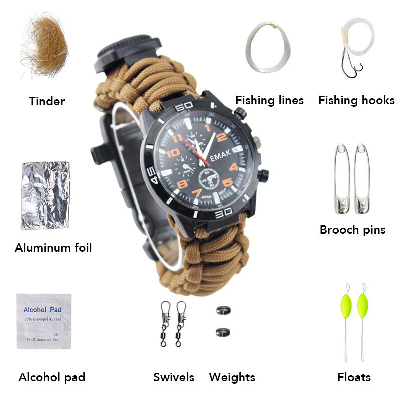 Military camouflage, mountaineering, outdoor high grade sports, men watch, earthquake disaster relief, self survival Watch Malaysia