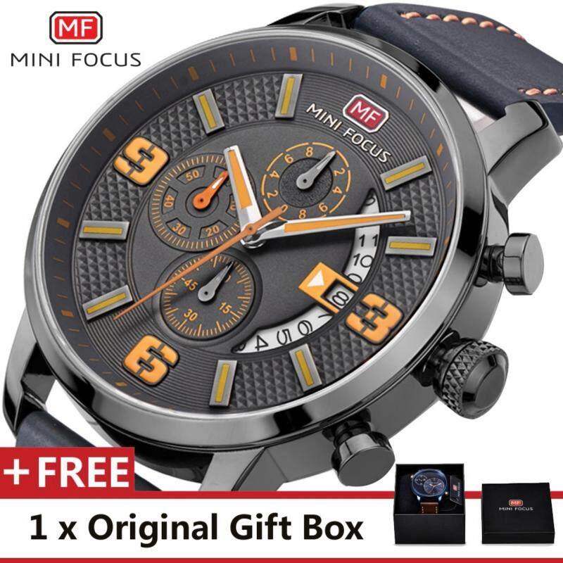 MINI FOCUS Top Luxury Brand Watch Famous Fashion Sports Cool Men Quartz Watches Calendar Waterproof Leather Wristwatch For Male MF0025G Malaysia