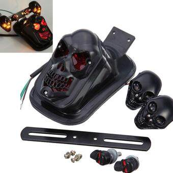 Harga Modified Motorcycle Accessories LED Black Skull Taillight+TurnSignal Personalized Motorbike Tail Lights Plus Steering