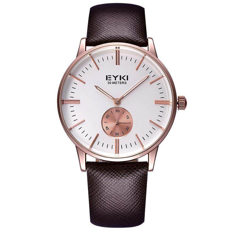 moob Bikisoft EYKI Lichade Fashion Leather Watchband men really small dial quartz movement watches wholesale (Brown) Malaysia