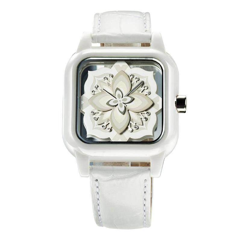 moob HRITO genuine Ms. hollow square dial quartz watch creative petals (white) Malaysia