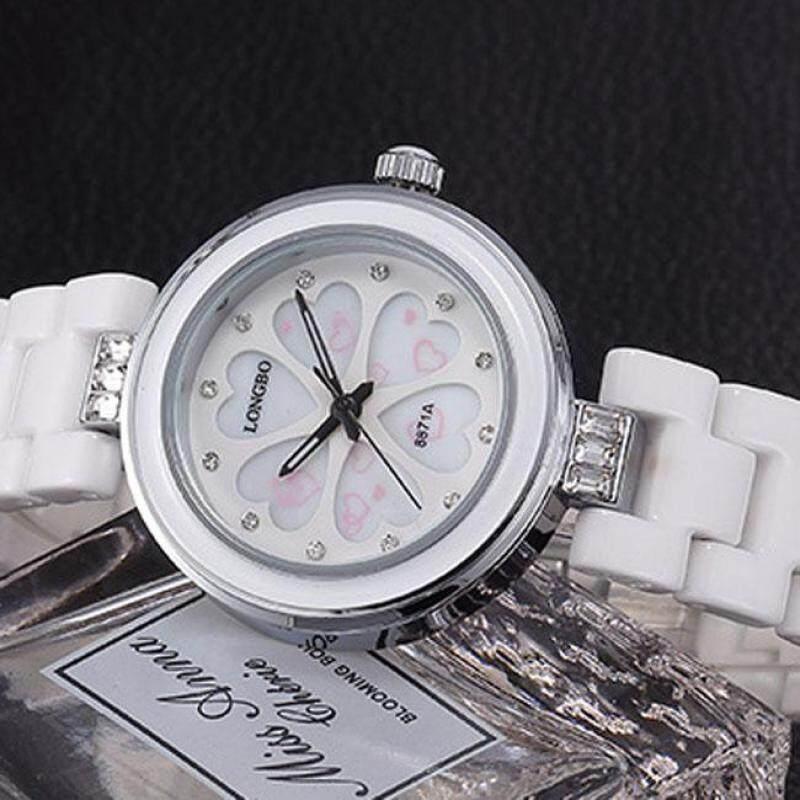 moob Long Bo LONGBO watch fashion watches quartz ceramic diamond heart-shaped waterproof fashion in table 8871 (White) Malaysia