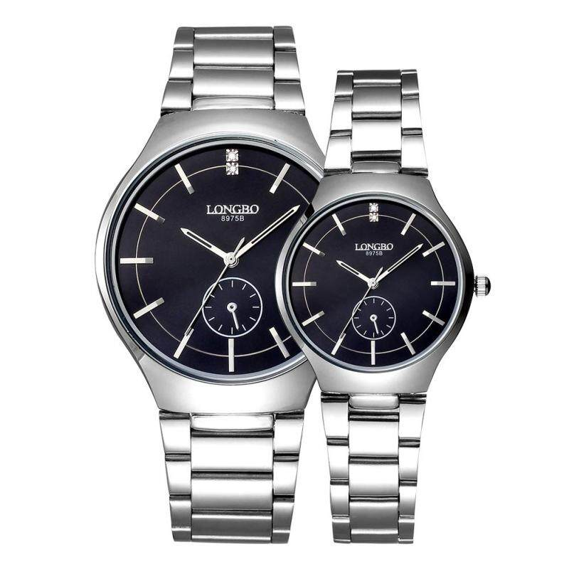 moob LONGBO imported from Japan movement fashion simple dial stainless steel strap couple watches (Black) Malaysia