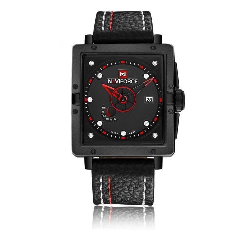 moob NAVIFORCE new mens watch calendar week waterproof quartz watch fashion belt (red) Malaysia
