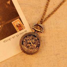 moob Vintage Retro Pocket Watch Women Necklace Quartz Alloy Pendant With Long Chain Hollow Flower Building Decoration (Bronze) Malaysia
