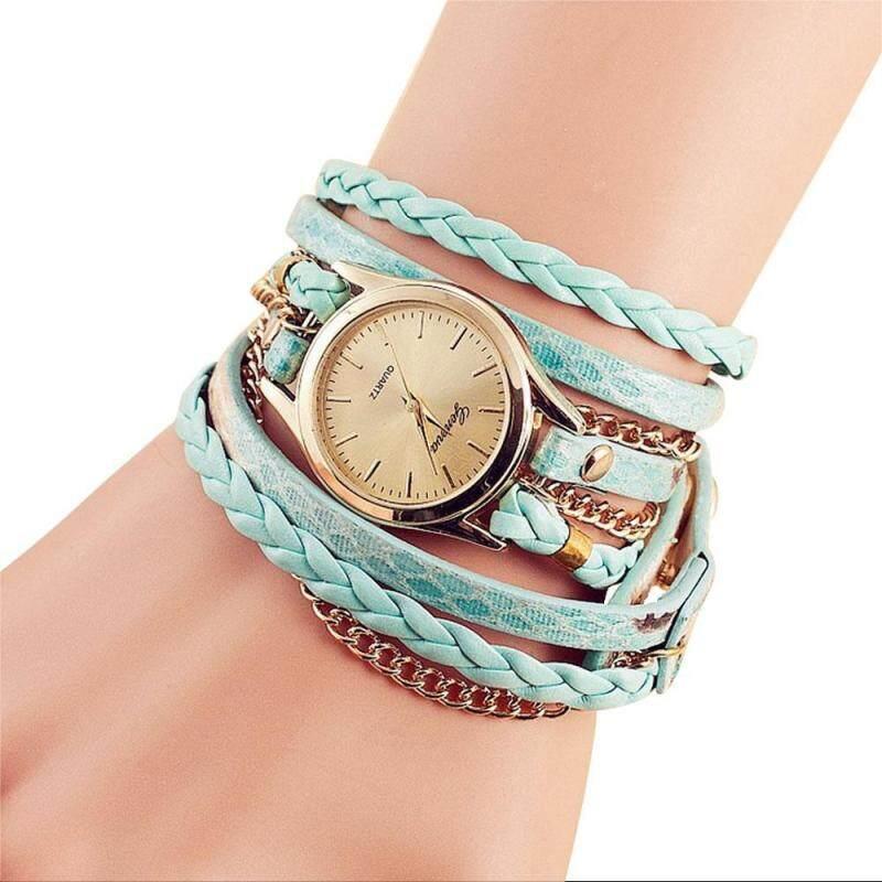 moob Womens Casual Vintage Multilayer Wristwatch Weave Wrap Rivet Leather Bracelet Wrist Watch Malaysia